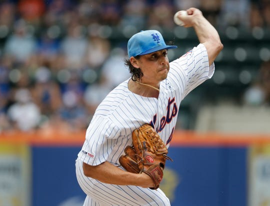 New York Mets pitcher Jason Vargas throws during the first inning of a baseball game against the St. Louis Cardinals at Citi Field, Sunday, June 16, 2019, in New York. (AP Photo/Seth Wenig)