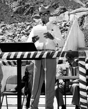 Then-Palm Springs Mayor Frank Bogert speaks during the Tachevah Dam dedication ceremony April 23 ,1965.