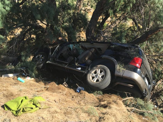 The driver of this Ford Explore died Sunday morning after crashing on Interstate 10, near the Whitewater rest area. Two passengers suffered major injuries.