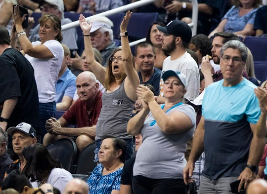 Arizona Rattlers fans have fun as their team dominates the San Diego Strike Force's at Talking Stick Resort Arena in Phoenix, Saturday, June 15, 2019.