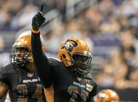 Arizona Rattlers' Devin Cockrell (27) celebrates against  San Diego Strike Force during the first half of their game at Talking Stick Resort Arena in Phoenix, Saturday, June 15, 2019.