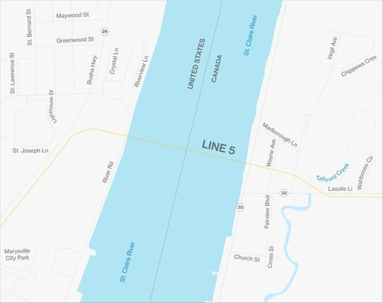 A new pipeline for Line 5 is slated to be installed between Froomfield, Ontario, and Marysville beneath the St. Clair River.