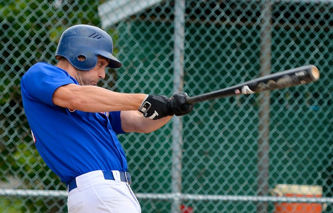 Conrads' Rick Thompson, seen here in a file photo, had three hits, including a homer, to go with three RBIs and two runs scored in a 16-2 win over Jacobus on Tuesday evening.