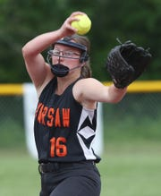 Warsaw's Anna O'Geen pitching against  Edison in the Class C state softball championship game at Moreau Recreational Park in Glens Falls, New York on June 15,  2019.