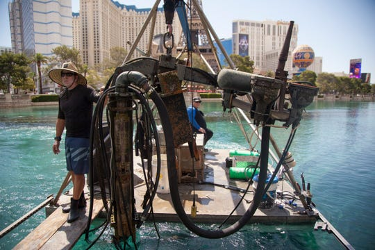 Crews works around the clock to maintain the famous Bellagio fountains in Las Vegas Friday, June 14, 2019.
