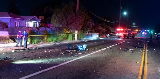 Visalia Police and Fire Departments respond to a collision on Walnut Avenue at Court Street just after 11:30p.m. on Saturday, June 15, 2019. The collision occurred almost immediately after an officer attempted a traffic stop on a white Lamborghini eastbound on Walnut at Conyer Street. The car refused to yield and sped away at high speed. Moments later the car struck two others at Court Street, a southbound Lincoln and a northbound Toyota. The force of the crash knocked the Toyota about 75 yards east of the intersection. The Lamborghini came to rest in a parking lot on the northeast corner. The driver of the Lamborghini and at least one person from the Toyota were transported with major injuries. The intersection and surrounding streets were closed for about two hours for investigation and cleanup.