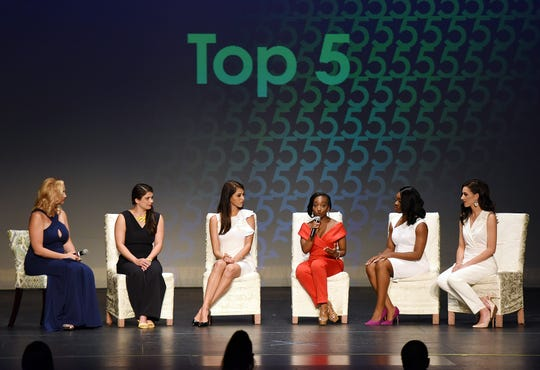 Hillary May, Nia Andrews, Selena Barnett, Victoria Muir and Kaylynn Pride were the top five candidates at the Miss Delaware 2019 pageant at Cape Henlopen High School near Lewes on June 15, 2019.