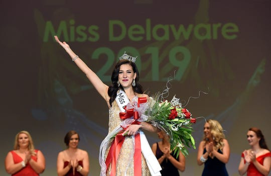 Hillary May won the Miss Delaware 2019 pageant at Cape Henlopen High School near Lewes on June 15, 2019.