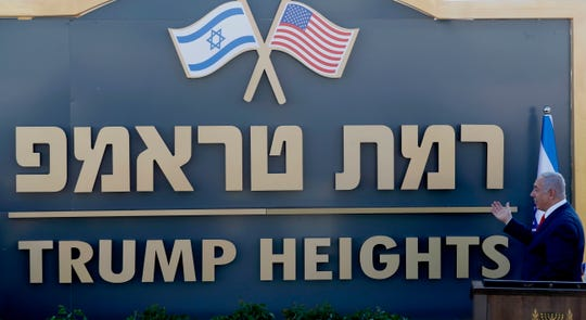 Israeli Prime Minister Benjamin Netanyahu during the unveiling of the sign of the new settlement that approved by the Israeli cabinet earlier today and will be called  'Trump Heights', during an official ceremony in Bruchim-Kela Alon Golan Heights, 16 June 2019.