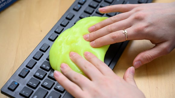This keyboard cleaning gel picks up dust and dirt easily.