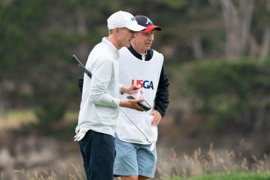 Chandler Eaton (left) had his dad, Scott, step in as his caddie at the U.S. Open.
