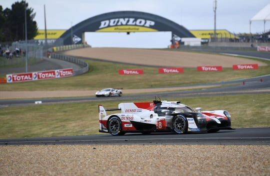 Toyota TS050 Hybrid LMP1 of Spain's driver Fernando Alonso drives the Toyota TS050 Hybrid during the 87th edition of the 24 Hours Le Mans.