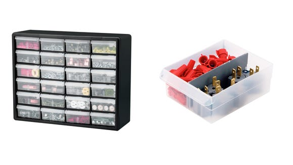 This plastic storage container is great for toys, crafts, and more.