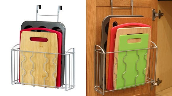 Cutting boards and cookie sheets? So much easier to grab with this.