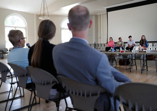 """Maryann Lazarski, with Milwaukee PBS, Alex Hart-Upendo, TJ Esser and Barrett Poetker answer questions after a screening of """"You're Not Alone""""  Monday at Ripon College."""