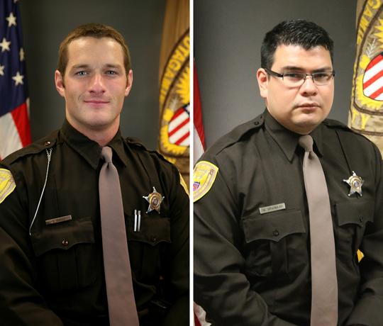 Sgt. Chris DeVries, left, and Marvin Gramajo