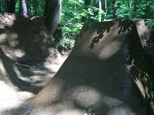 A BMX ramp at 'Radiation Trails' in the Holmdel woods, before it was bulldozed.