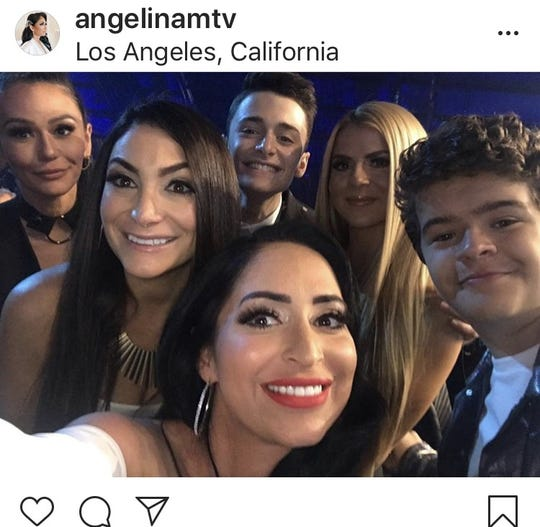 "Jenni ""JWoww"" Farley (L-R) Deena Nicole Cortese,  Noah Schnapp,  Angelina Pivarnick, Lauren Sorrentino and Gaten Matarazzo at the MTV Movie and TV Awards, Saturday, June 15 in California."