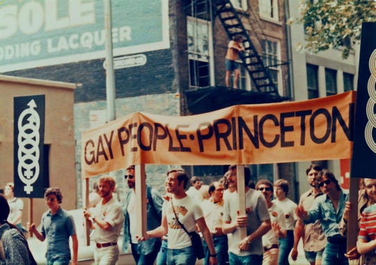 Members of Gay People Princeton, pictured marching in New York City in 1972.
