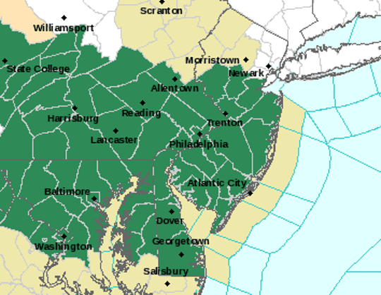 A flash flood watch was in effect over most of New Jersey on June 17, 2019.