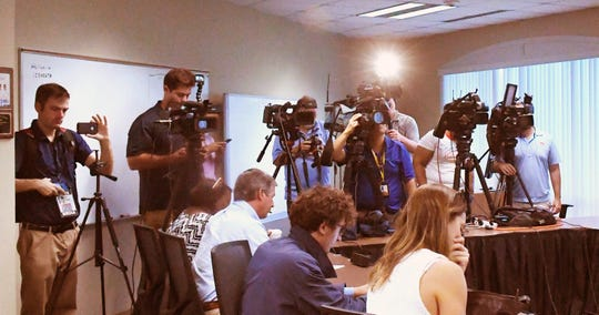 Brevard County School District Superintendent Mark Mullins talks to the media gathered at the district office in Viera about a proposed pay increase for teachers.