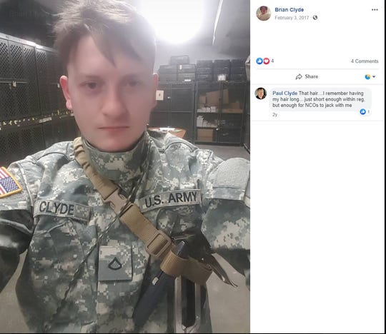 A screenshot shows Brian Clyde in a U.S. Army uniform in a February 3, 2017 Facebook post.