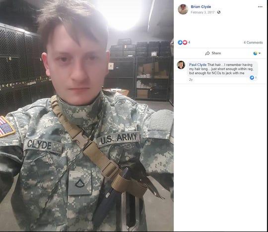 A screenshot shows Brian Clyde in a U.S. Army uniform in a February 3, 2017 Facebook post.