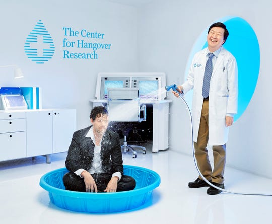 Actor Ken Jeong hoses down a test subject at The Center for Hangover Research, a fictitious facility created to market Campbell Soup Co.'s V8 +Hydrate.