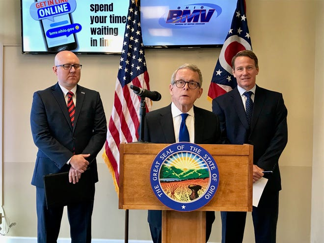Ohio Registrar of Motor Vehicles Charlie Norman, Gov. Mike DeWine and Lt. Gov. Jon Husted unveiled a new web app that will make waiting for services at the BMV less painful.