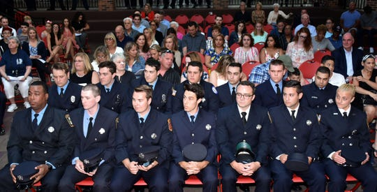 Union County Freeholder Chair Bette Jane Kowalski and Vice Chairman Alexander Mirabella congratulated 14 new firefighters from the Fall 2018 Class on graduating the Union County Fire Training Academy during a ceremony at Union County College in Cranford. They also congratulated Geoffrey Semler of the Cranford Fire Department on earning the Battalion Chief Ken Nocera Memorial Award for Outstanding Excellence in Firefighter 1, Kristian Jacoby of the Garwood Fire Department on earning the Chief Anthony Schepis Award for Excellence in Firefighter 1, and Willie Massenburg from the Kenilworth Fire Department on receiving the Ben Laganga Leadership Award.
