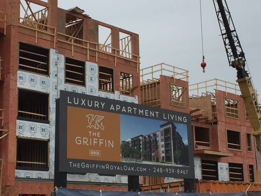The Griffin, a luxury residential project, seen under construction in Royal Oak near Woodward and 696 on June 17, 2019.