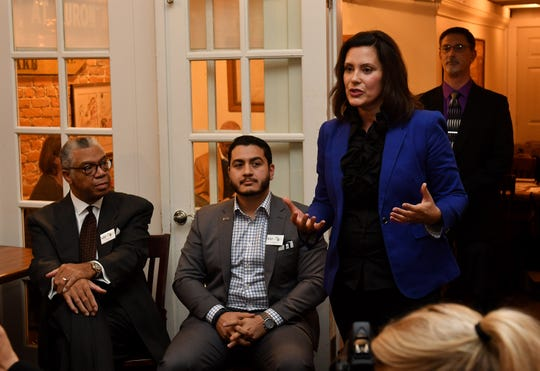 Candidate Gretchen Whitmer speaks at a marijuana legalization forum with the candidates for governor at Sidetrack Bar & Grill in Ypsilanti in this Nov. 14, 2017, file photo.  Whitmer is among 18 governors to sign a letter urging Congress to open the U.S. banking system to the legal marijuana industry.