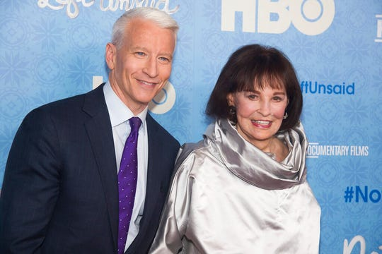 "In this April 4, 2016 file photo, CNN anchor Anderson Cooper and Gloria Vanderbilt attend the premiere of ""Nothing Left Unsaid"" at the Time Warner Center in New York."