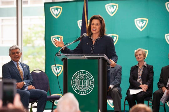 Michigan Gov. Gretchen Whitmer speaks in support of the Michigan Opioid Partnership and its strategy of combining public and private funds to support treatment programs for people trying to overcome opioid addiction.