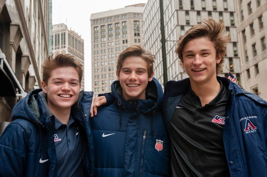 Cole Caufield, left, and Trevor Zegras, right, are members of the U.S. junior team playing at the world championship in the Czech Republic.