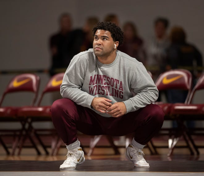 Gable Steveson warms up before wrestling in an NCAA Big Ten tournament in Minneapolis, Minn, Sunday, Jan. 6, 2019.