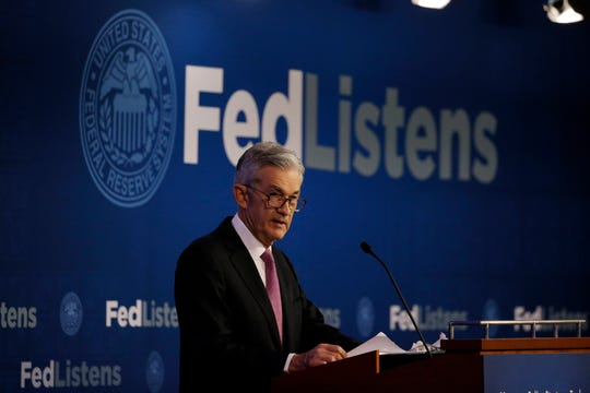 Federal Reserve Chairman Jerome Powell speaks at a conference involving its review of its interest-rate policy strategy and communications June 4 in Chicago.