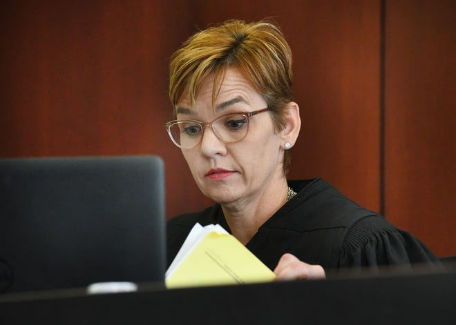 Probate Court Judge Jennifer Callaghan listens to attorneys concerning the estate of the late Aretha Franklin at the Oakland County Courthouse in Pontiac on Monday.