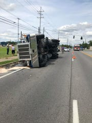 A semi truck is overturned at U.S. 60 and U.S. 41-Alternate in this photo from the Henderson Emergency Operations Center.