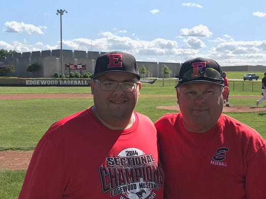 Edgewood coach Bob Jones (right) and son, Sam Jones. Bob leads Edgewood into state finals for first time in his 34 seasons as coach. The father-son bond was strengthened in August when Sam was involved a serious car accident and battled depression for months.