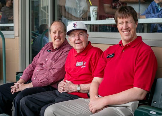 From left: Bruce, Max and Mark Schumacher sit in the stands as the Indianapolis Indians hosted a double header at Victory Field against Pawtucket Red Sox Sunday, June 16, 2019, Indianapolis, for Father's Day.
