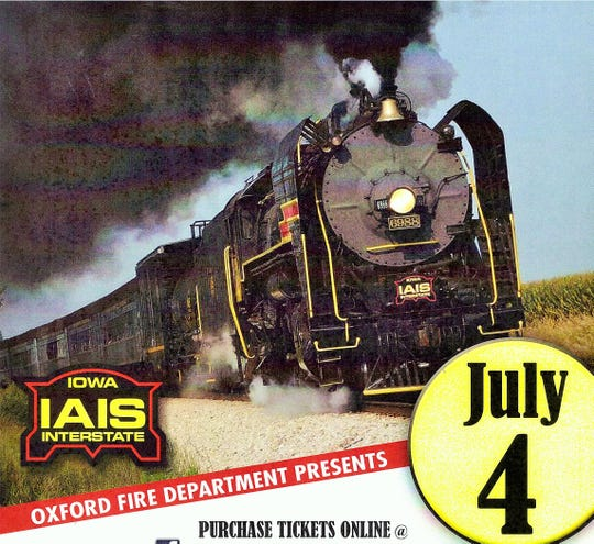 A rare chance to ride this steam train from Oxford to Iowa City and back will be presented to the public July 4 during the Oxford Sesquicentennial.