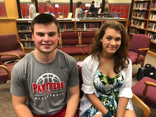 Nathan Mack, valedictorian, and MacKenzie Jones, salutatorian, of the Spencer-Van Etten Class of 2019.