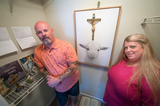 After the April 27, 2019, fire at The  Vineyard at Castlewoods Apartment Homes in Brandon had destroyed their third-floor apartment, Bryan and Stephanie Stephens couldn't believe the picture of a white lamb that hung in their prayer room came out without a mark. It now hangs in their new prayer room.