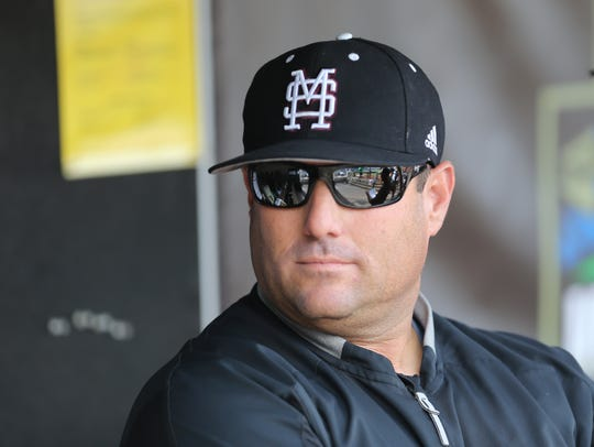 Mississippi State head baseball coach Chris Lemonis watches his team warm up prior to the game. Mississippi State defeated Auburn in the opening round of the NCAA College World Series on Sunday, June 16.2019 at TD Ameritrade Park in Omaha.