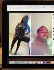 This photo of a computer screen shows a Facebook post of LaTamela Taylor (left) and Darron Wilson