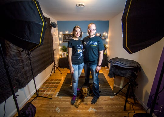 Maria Jaramillo, Cody Beeler and their dog Maya photographed on Friday, June 14, 2019, in the studio where they film their popular WhyNotSpanish YouTube videos.