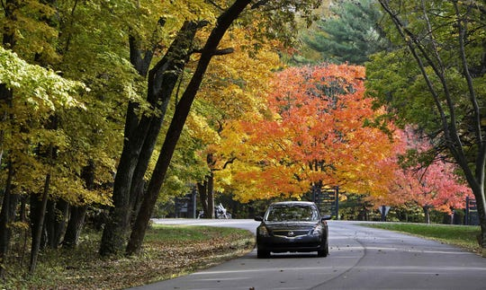 Tourist  view the changing fall foliage as they drive through Brown County State Park in Nashville, Ind., Wednesday, Oct. 21, 2009. (AP Photo/Darron Cummings)