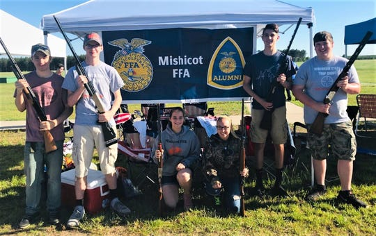 Mishicot FFA High School trap shooters who qualified and shot at the Wisconsin State High School Trap Tournament included (from left): Nathan Holly, Kyle Mehorczyk, Crystal Anhalt, Ashley Schuh, Parker Reif and Jerrod Heyroth. The Wisconsin state tournament was June 8 in Rome.
