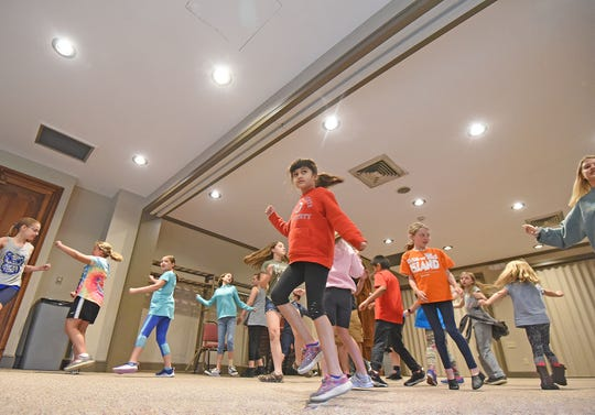 Aspiring thespians learn a song and dance routine at the Renaissance Theatre during the annual Broadway Camp!, being held Monday through Friday this week and June 24-18.